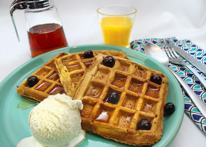 Pumpkin Waffles with Berries