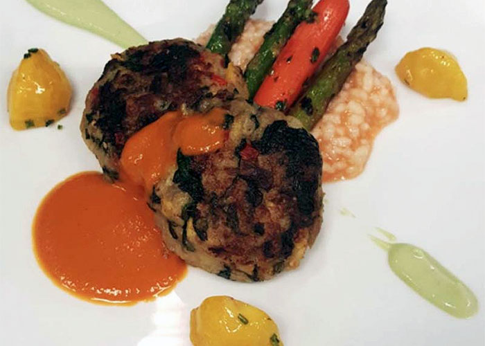 Vegetarian Eggplant Cakes with Grilled Vegetables