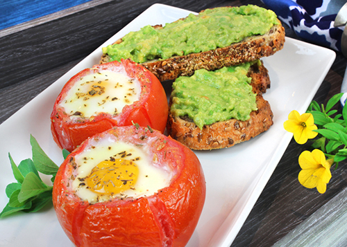 Baked Egg Stuffed Tomatoes with Avocado Toast