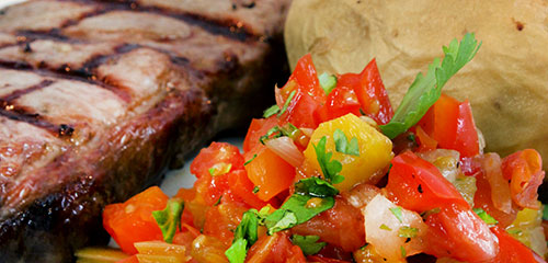 Grilled Steak with Tomato Chutney