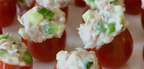 Spicy Tuna Cherry Tomato Cups