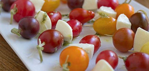 Tomato, Mozzerella Skewers with Pesto